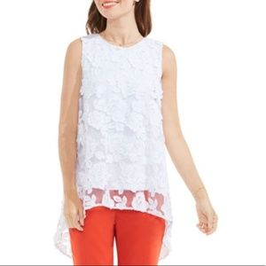 Brand New Vince Camuto floral mesh high low blouse